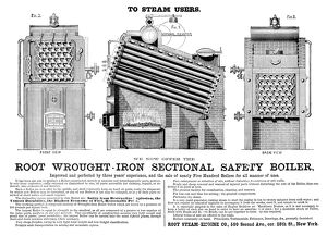 ADVERTISEMENT: BOILER, 1872. American advertisement for Root Wrought-Iron Sectional