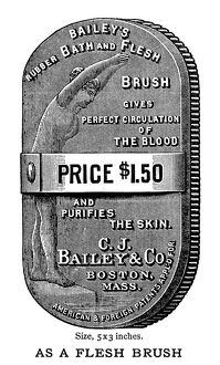 AD: BRUSH, 1888. American advertisement for Bailey's Rubber Bath and Flesh Brush