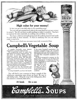 AD: CAMPBELL'S SOUP, 1918. American advertisement for Campbell's Vegetable Soup