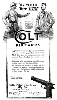 AD: COLT FIREARMS, 1919. American advertisement for Colt Firearms, 1919