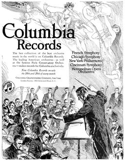 AD: COLUMBIA RECORDS, 1919. American advertisement for Columbia Record's orchestra