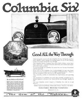 AD: COLUMBIA SIX, 1919. American advertisement for the Columbia Six, manufactured
