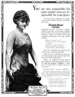 AD: CORSET, 1919. American advertisement for 'Stylish Stout' Corset Sveltline