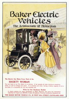 AD: ELECTRIC CAR, 1909. American advertisement for Baker Electric Vehicles, 1909