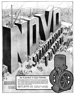 AD: ENGINES, 1918. American advertisement for the Novo Engine Corporation. Illustration