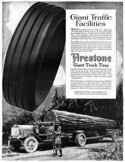 AD: FIRESTONE, 1918. American advertisement for Firestone Giant Truck Tires. Illustration