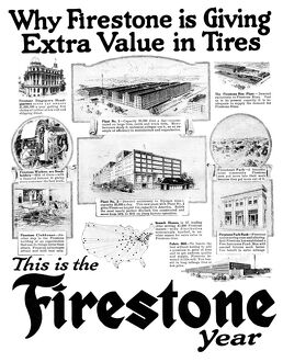 AD: FIRESTONE, 1919. American advertisement for Firestone Tires, 1919