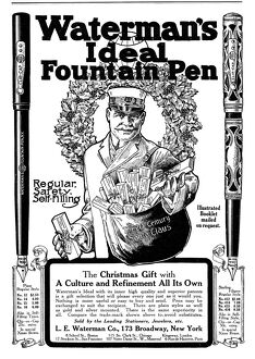 AD: FOUNTAIN PEN, 1911. American magazine advertisement for Waterman's fountain pens