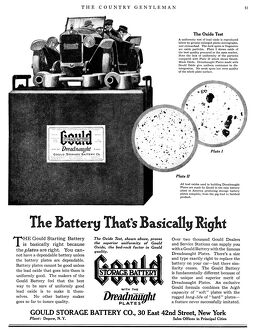 AD: GOULD STORAGE BATTERY. American advertisement for the Gould Storage Battery