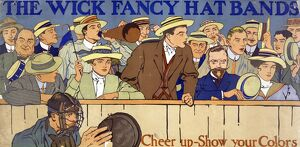 AD: HAT BANDS, c1910. 'The Wick fancy hat bands