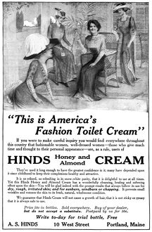 AD: HINDS CREAM, 1911. American advertisement for Hinds Honey and Almond Cream, 1911