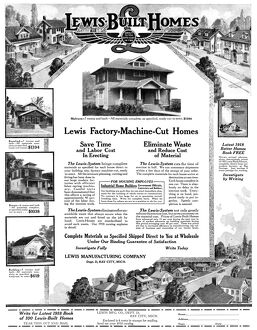 AD: HOMES, 1918. American advertisement for Lewis-Built Homes. Illustration, 1918