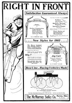 AD: HORSE-RACING VEHICLES. American magazine advertisement for horse-racing vehicles