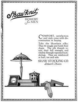 AD: HOSIERY FOR MEN, 1919. American advertisement for Shaw Knit Hosiery for Men, 1919