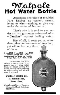 AD: HOT WATER BOTTLE, 1911. American magazine advertisement for Walpole hot water bottles