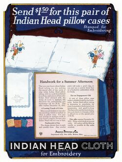 AD: INDIAN HEAD CLOTH. American advertisement for Indian Head pillow cases, which