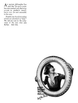 AD: KELLYS TIRES, 1919. American advertisement for Kelly's Tires, 1919