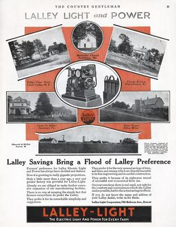 AD: LALLEY LIGHT, 1919. American advertisement for a generator manufactured by Lalley