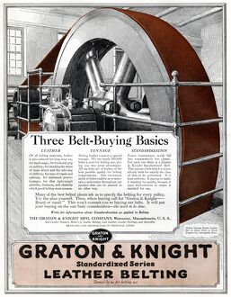 AD: LEATHER BELTING, 1918. American advertisement for Graton & Knight Standardized