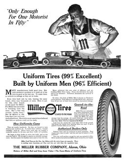 AD: MILLER TIRES, 1918. American advertisement for Miller Tires, manufactured by