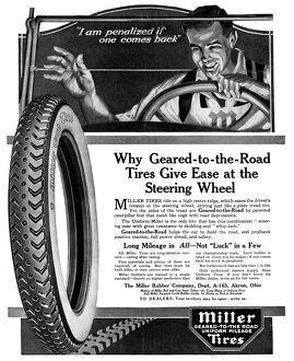 AD: MILLER TIRES, 1919. American advertisement for Miller Tires, manufactured by