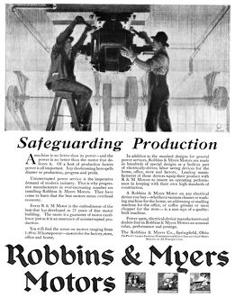 AD: MOTOR, 1918. American advertisement for Robbins & Myers Motors. Illustration, 1918