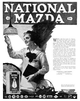 AD: NATIONAL MAZDA, 1919. American advertisement for National Mazda, a lightbulb