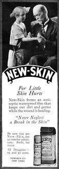 AD: NEW-SKIN, 1919. American advertisement for New-Skin, 1919