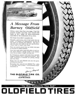 AD: OLDFIELD TIRES, 1919. American advertisement for Oldfield Tires, 1919