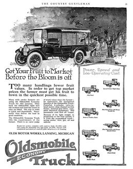 AD: OLDSMOBILE, 1919. American advertisement for Oldsmobile Economy Truck, 1919