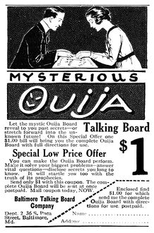 AD: OUIJA BOARD, 1920. American advertisement for the Ouija Board, manufactured