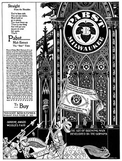 ADVERTISEMENT: PABST, c1895. American magazine advertisement for Pabst beer, c1895