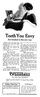 AD: PEPSODENT, 1922. American advertisement for Pepsodent toothpaste, 1922