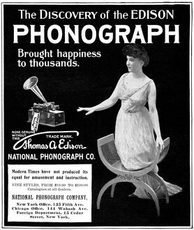 AD: PHONOGRAPH, 1901. American magazine advertisement for the Thomas A