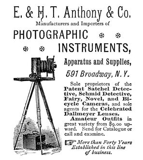 AD: PHOTOGRAPHY, 1889. American magazine advertisement for E