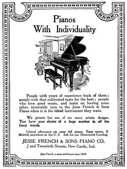 AD: PIANOS, 1926. American advertisement for Jesse French & Sons Piano Company, 1926