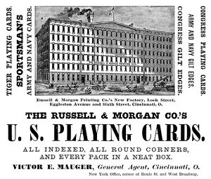 AD: PLAYING CARDS, 1883. American magazine advertisement for Russell and Morgan