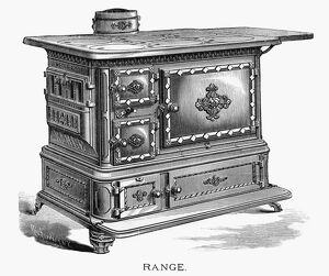 AD: RANGE STOVE, 1875. American advertisement for a range stove, manufactured by
