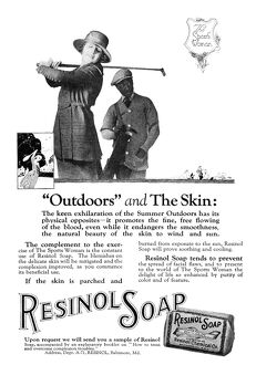 AD: RESINOL SOAP, 1919. American advertisement for Resinol Soap, 1919