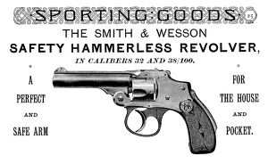AD: REVOLVER, 1889. American magazine advertisement for the Smith & Wesson hammerless