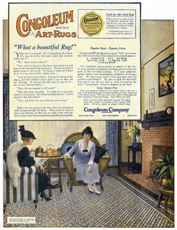 AD: RUGS, 1919. American advertisement for Congoleum Art-Rugs, 1919