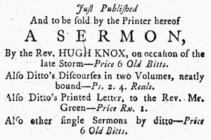ADVERTISEMENT: SERMONS, 1772. Advertisement for published sermons and other writings