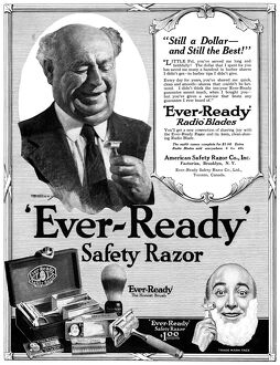 AD: SHAVING, 1919. American advertisement for 'Ever-Ready' Safety Razor, 1919