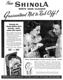 AD: SHOE CLEANER, 1936. American advertisement for Shinola White Shoe Cleaner. Photograph