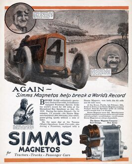 AD: SIMMS MAGNETOS, 1919. American advertisement for Simms Magnetos, 1919