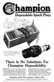AD: SPARK PLUGS, 1919. American advertisement for Champion Dependable Spark Plugs, 1919