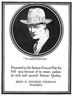 AD: STETSON COMPANY, 1919. American advertisement for the Stetson Feature Hat for