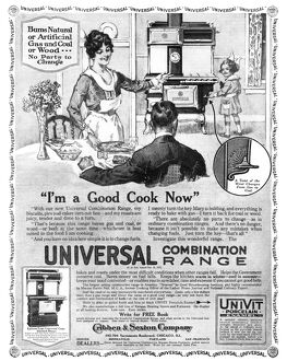 AD: STOVE, 1918. American advertisement for the Universal Combination Range, which
