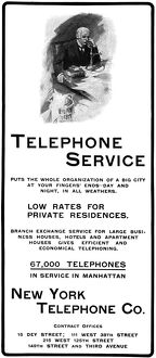 AD: TELEPHONE, 1901. American magazine advertisement for the New York Telephone Company
