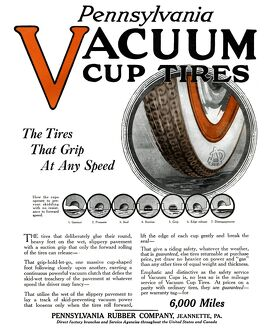 AD: TIRES, 1918. American advertisement for Pennsylvania Vacuum Cup Tires. Illustration